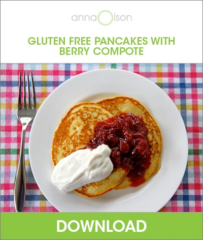 gluten free pancakes with berry compote